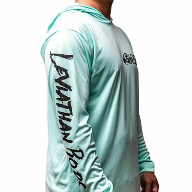 Hooded Dry-Wicking UV Protection Fishing Shirts - Sea Green | Leviathan Rods